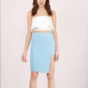 Baby Blue Slit Pencil Skirt